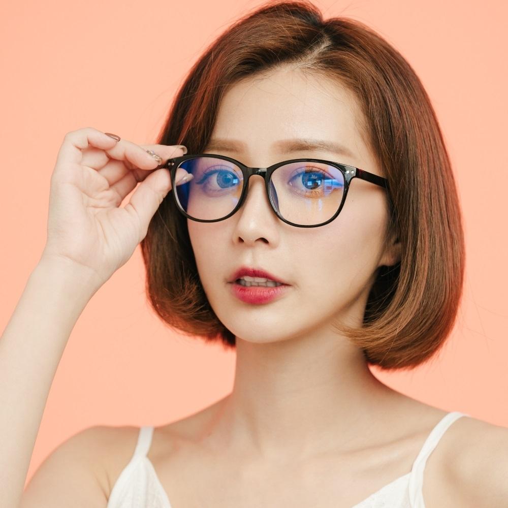 ALEGANT簡約造型輕量亮黑方框UV400濾藍光眼鏡