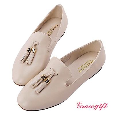 Grace gift-小圓頭雙流蘇平底樂福鞋 米白