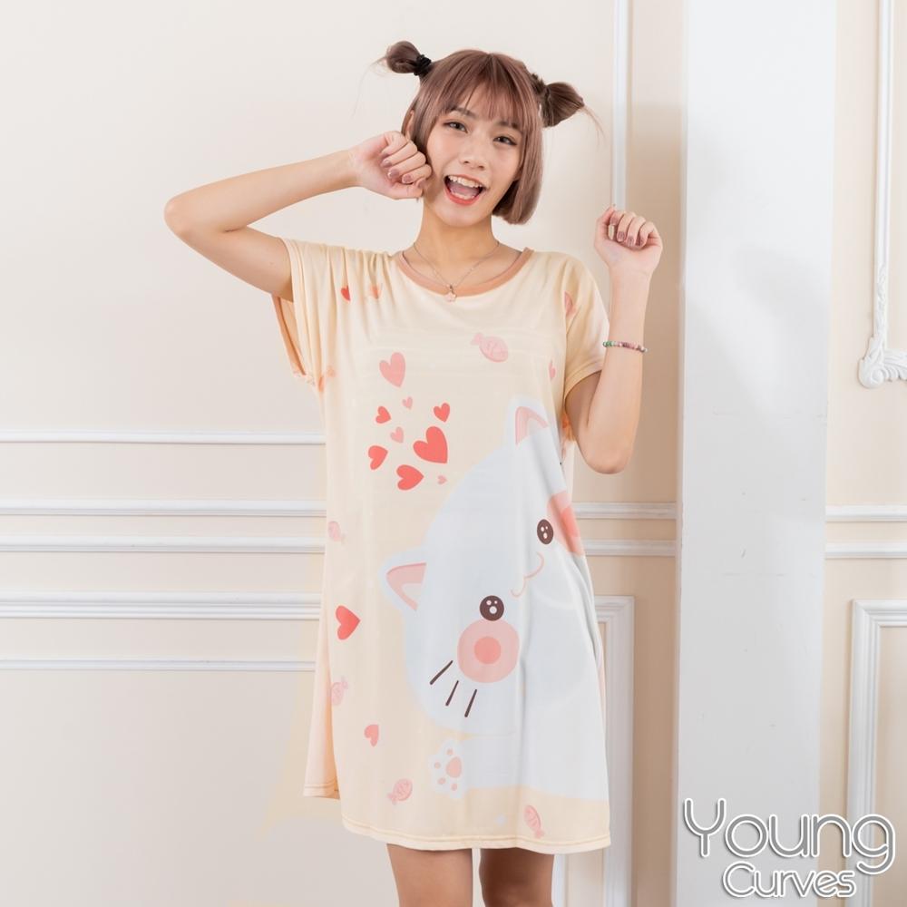睡衣 牛奶絲質短袖連身睡衣(C01-100712貓咪愛吃魚) Young Curves
