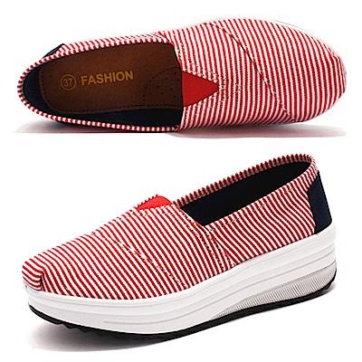 韓國KW美鞋館 舒適透氣彈力細條健走鞋-紅色