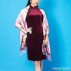 Kaleena Queen 玫瑰情意絲質披肩-粉