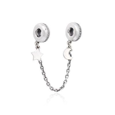 Pandora 潘朵拉 宇宙星月安全錘鍊安全扣 純銀墜飾