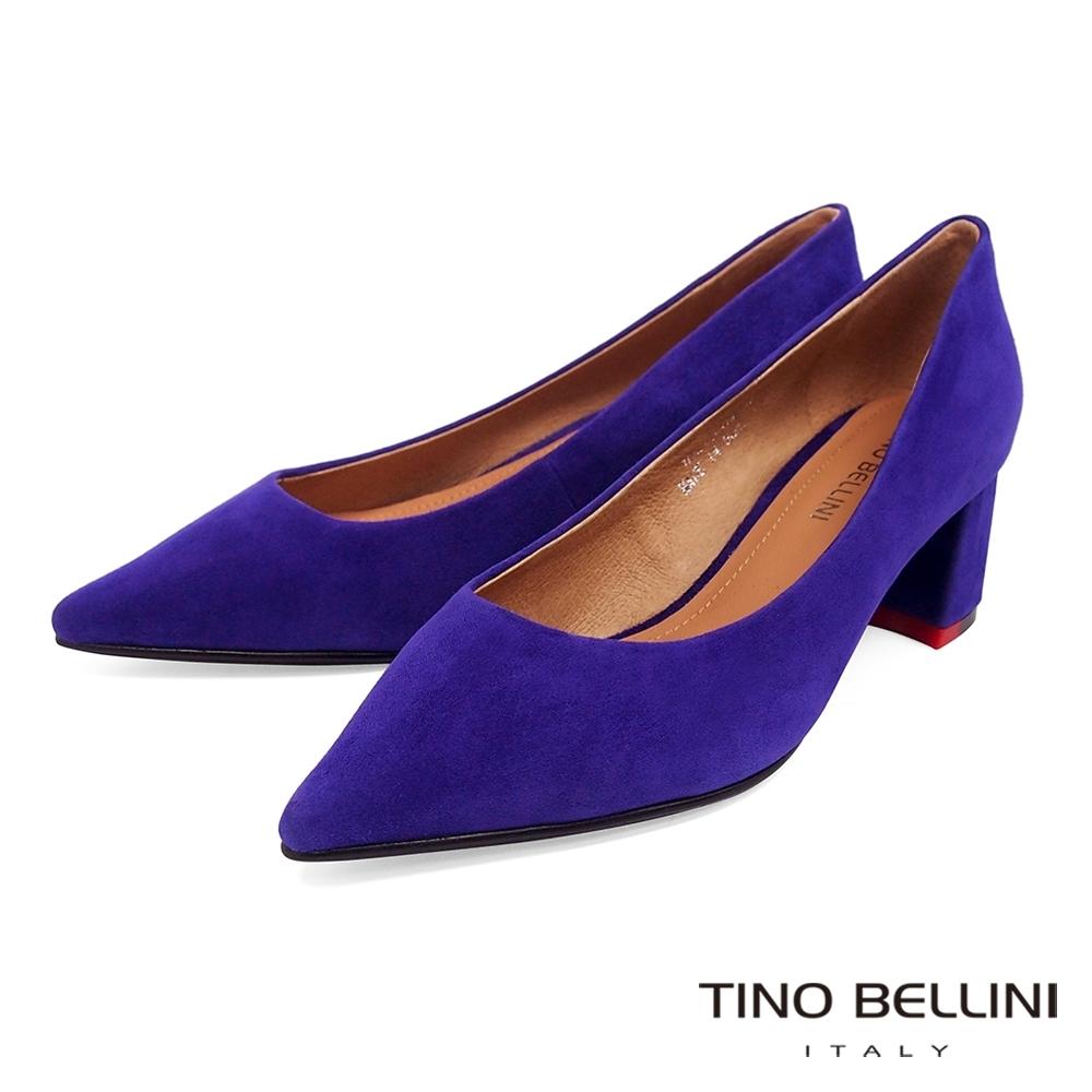 Tino Bellini奢華絨感羊麂皮中粗跟鞋_紫