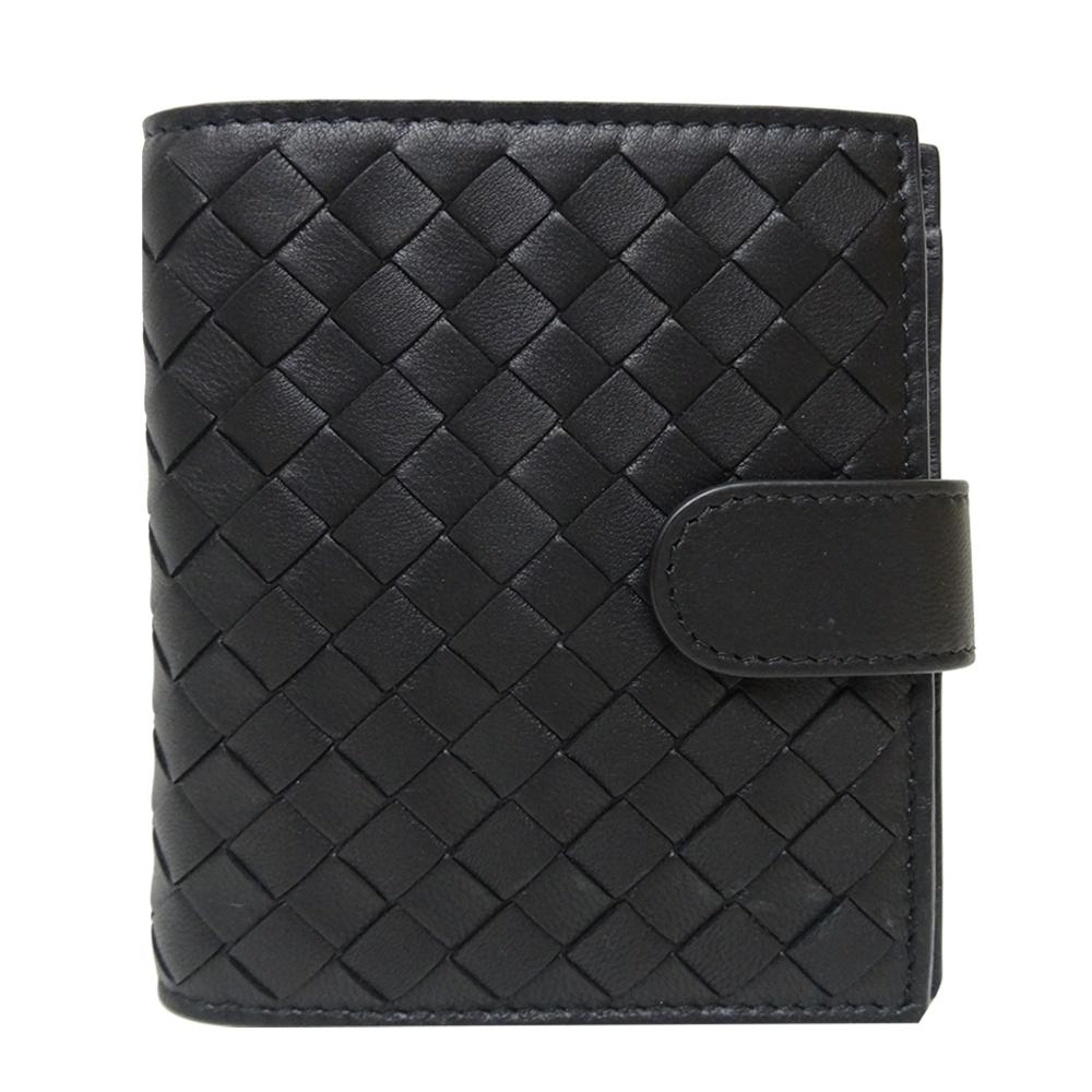 BOTTEGA VENETA 編織羊皮八卡扣式短夾(黑色)