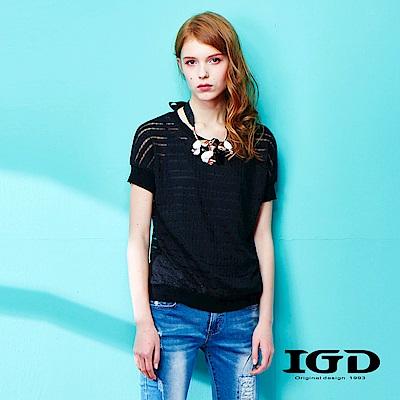 IGD英格麗 都會透膚蕾絲網紗個性造型上衣-黑色