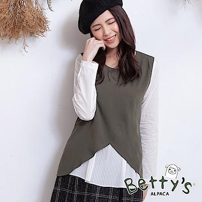 betty's貝蒂思 袖口撞色圓領長袖上衣(深綠)
