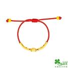幸運草金飾 一路發財黃金彌月中國繩手環