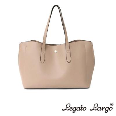 Legato Largo 驚異的輕量化 小法式輕便簡約 流線型剪裁手提袋 杏色