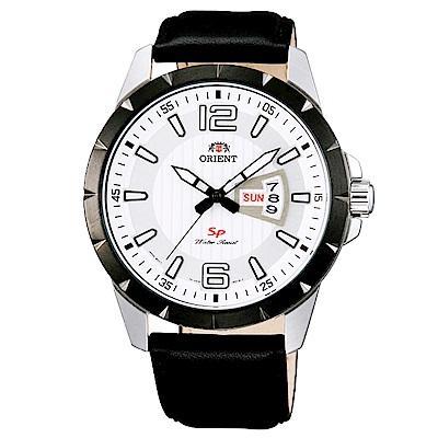 ORIENT 東方 經典時尚日期真皮手錶 FUG1X003W 白X黑/43mm