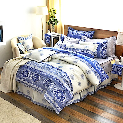 Grace Life 經典承諾-藍 精梳純棉加大兩用被床罩八件組