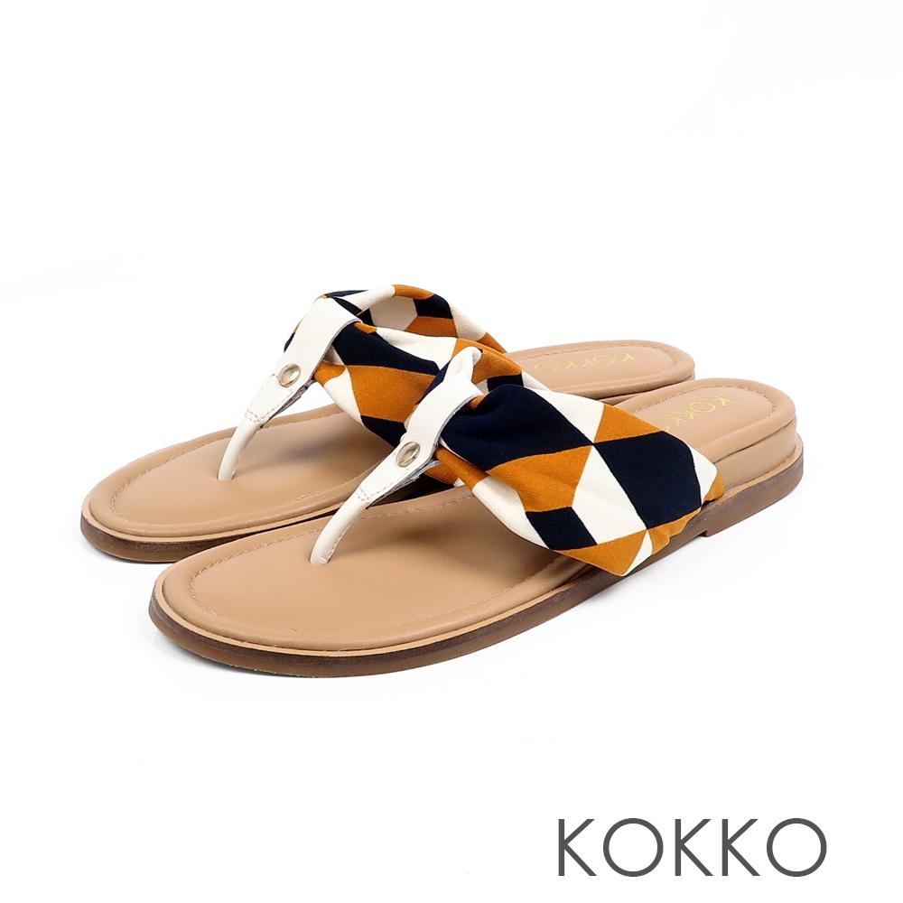 KOKKO簡約風尚抓皺夾腳涼拖鞋萬花筒