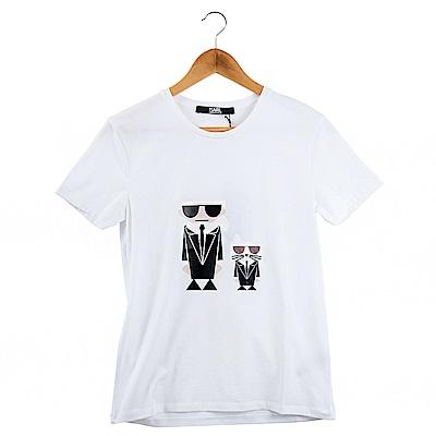 KARL LAGERFELD Q版卡爾貓咪造型短T恤 (白色)