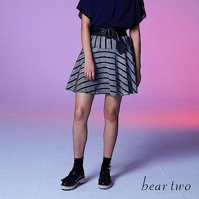 beartwo 可愛條紋剪接波浪短裙(二色)