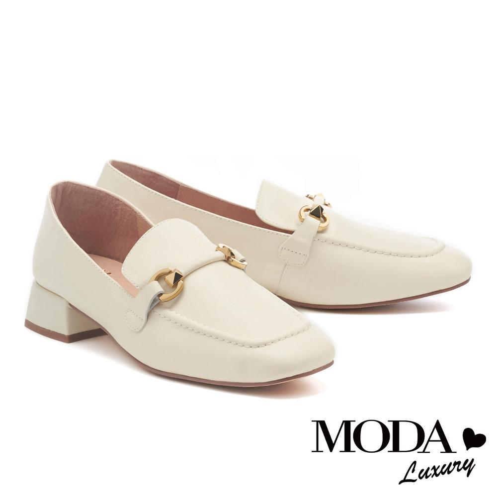 低跟鞋 MODA Luxury 韓系質感造型鼓帶牛皮樂福低跟鞋-白