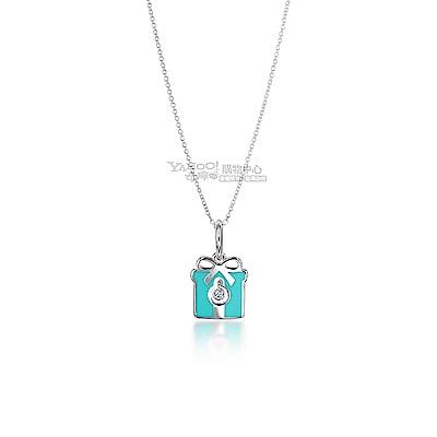 TIFFANY&Co.粉藍琺瑯鑲鑽禮物盒925純銀項鍊