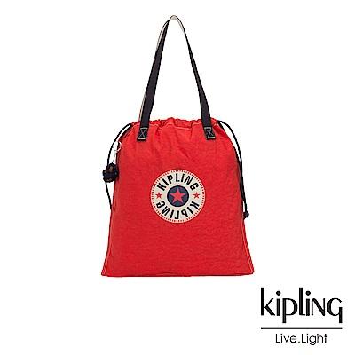 Kipling 致敬經典復古亮紅束口抽繩手提袋-NEW HIPHURRAY