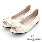 【CUMAR】優雅復古珍珠飾釦魚口內增高平底鞋-米