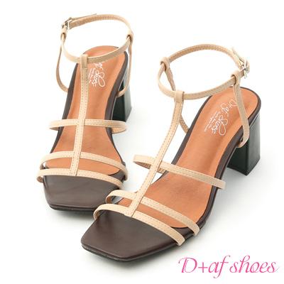 D+AF 絕美時尚.撞色細帶美形高跟涼鞋*杏