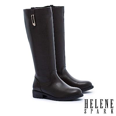 長靴 HELENE SPARK 簡約率性金屬方飾低跟長靴-綠