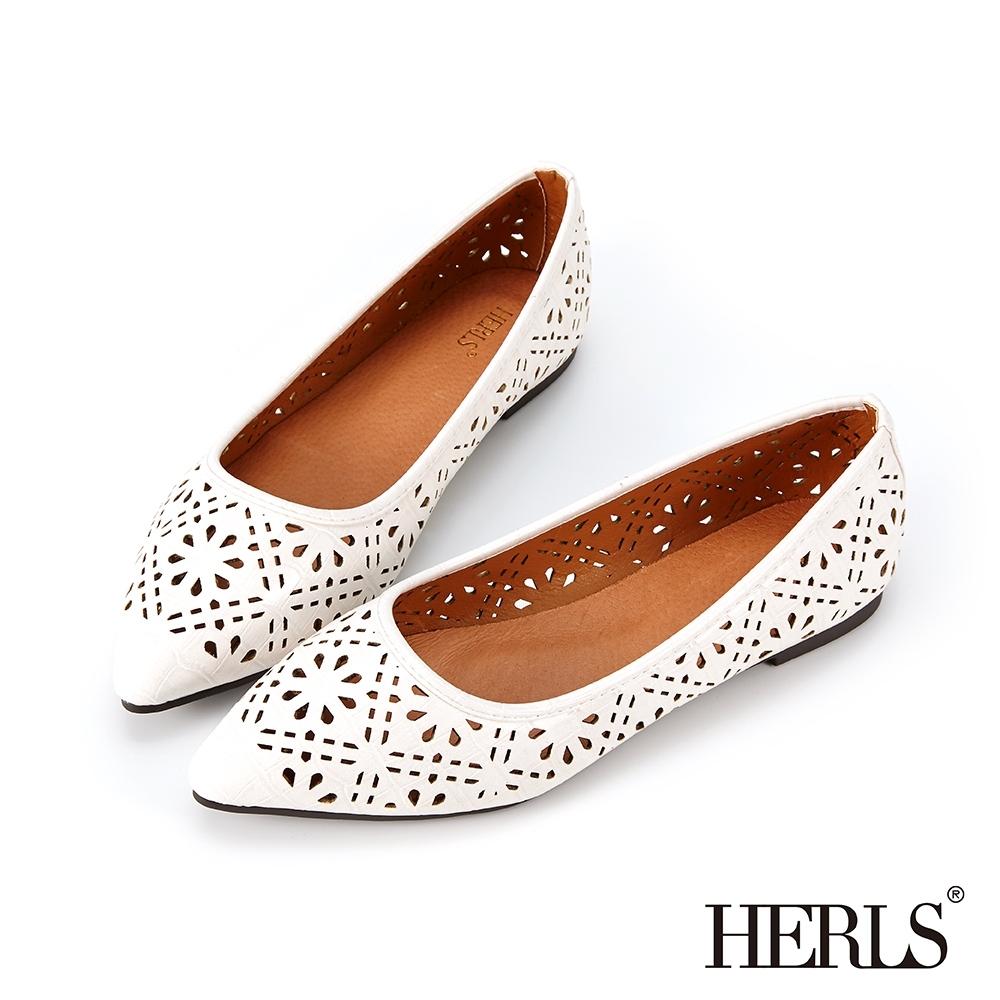 HERLS平底鞋-緹花鏤空石頭紋尖頭平底鞋-白色