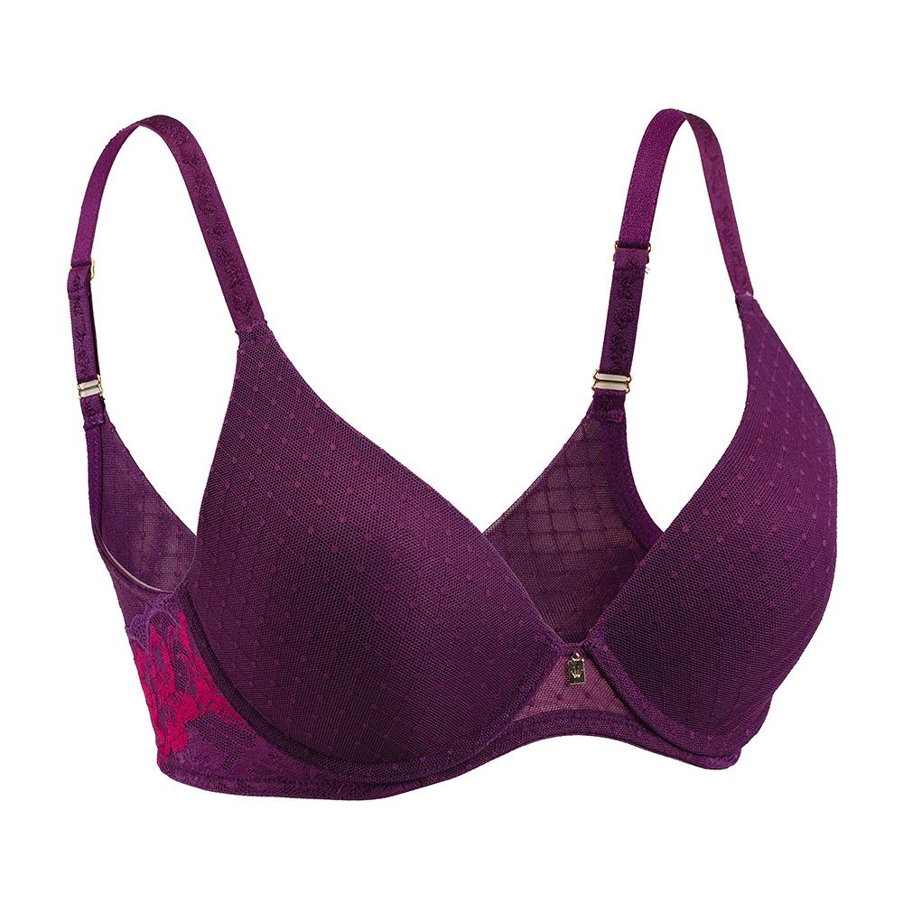 黛安芬-魔術微塑系列深V版 D-E罩杯內衣(誘惑紫紅)