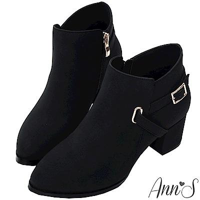 Ann'S當季感-金色V型扣帶粗跟短靴-黑