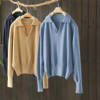 港風POLO領針織衫寬鬆長袖薄版內搭毛衣-設計所在