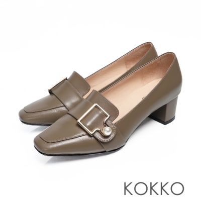 KOKKO - 秋日旋律珍珠扣方頭粗跟樂福鞋-翡翠綠
