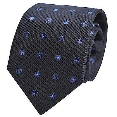 DAKS 經典品牌LOGO圖騰LOGO領帶(深藍底)