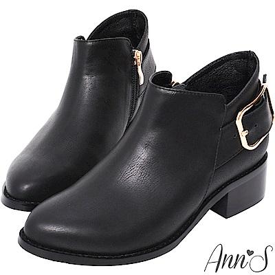 Ann'S優質剪裁-大方扣顯瘦側V復古粗跟短靴-黑