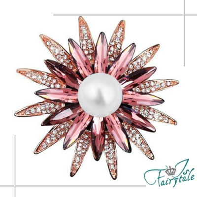 iSFairytale伊飾童話 珍珠太陽花 玫瑰金水晶別針胸針 紫紅