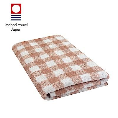 日本今治 純天然有機棉無染色浴巾(方格-粉藕紅)