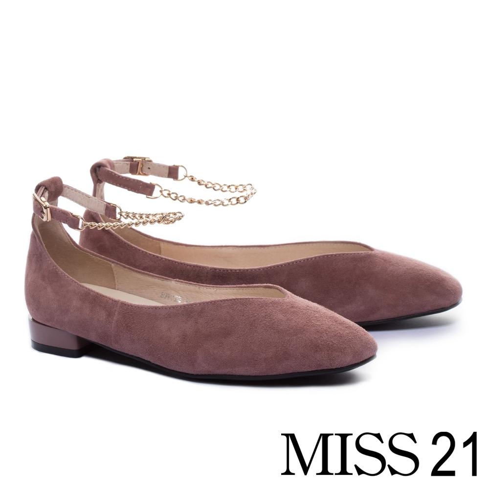 低跟鞋 MISS 21 簡約優雅鍊條踝繫帶方頭低跟鞋-粉