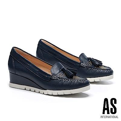 高跟鞋 AS 流蘇鉚釘羊皮莫卡辛楔型高跟鞋-藍