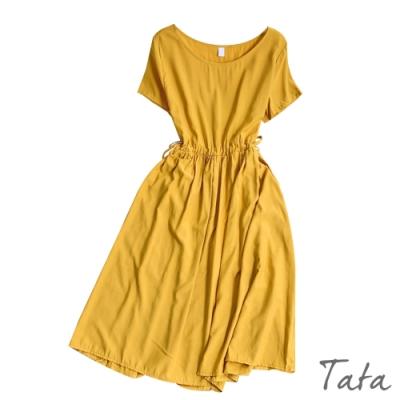純色腰繫帶雪紡洋裝 共四色 TATA