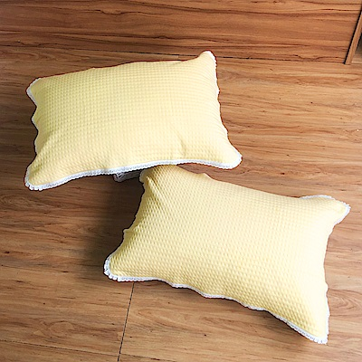 鴻宇 美國棉 針織枕巾2入 黃