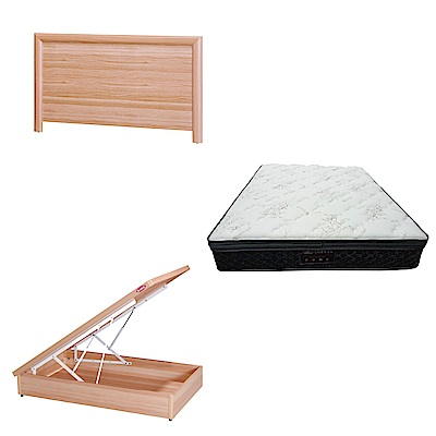 綠活居 羅多3.5尺單人床台三式組合(床頭片+後掀床底+正三線乳膠獨立筒)五色可選