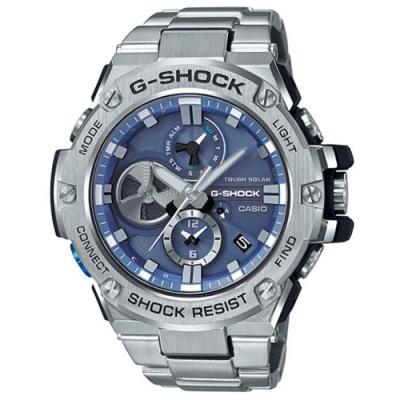 G-SHOCK 渦輪設計藍芽太陽能設計不鏽鋼鍊錶-藍(GST-B100D-2A)/58.1