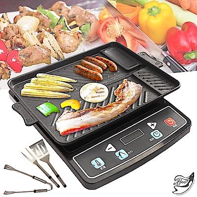 Effect 麥飯石-不沾烤盤雙用無煙燒烤盤(贈刀叉三件組)