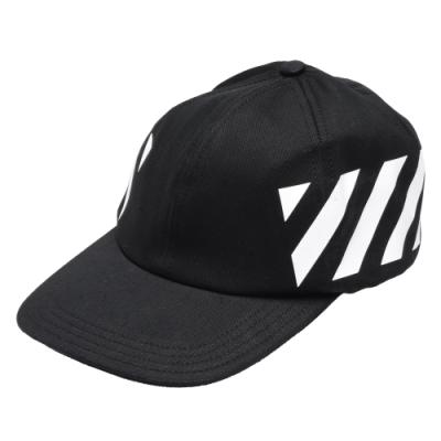 OFF-WHITE 經典白色條紋裝飾鴨舌帽(黑)