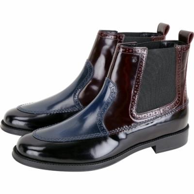 TOD'S 布洛克雕花拼色牛皮切爾西踝靴(黑x藍x酒紅)