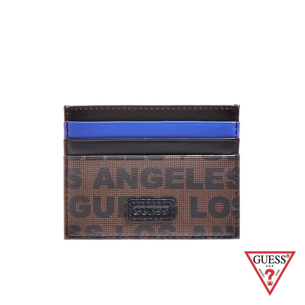 GUESS-女夾-撞色拼接印花輕便卡片夾-咖 原價1090