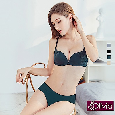 Olivia 無鋼圈歐美睫毛蕾絲無痕內衣+內褲套組-綠色