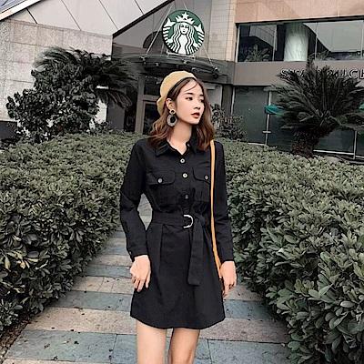 DABI 韓國小香風復古設計感長袖洋裝