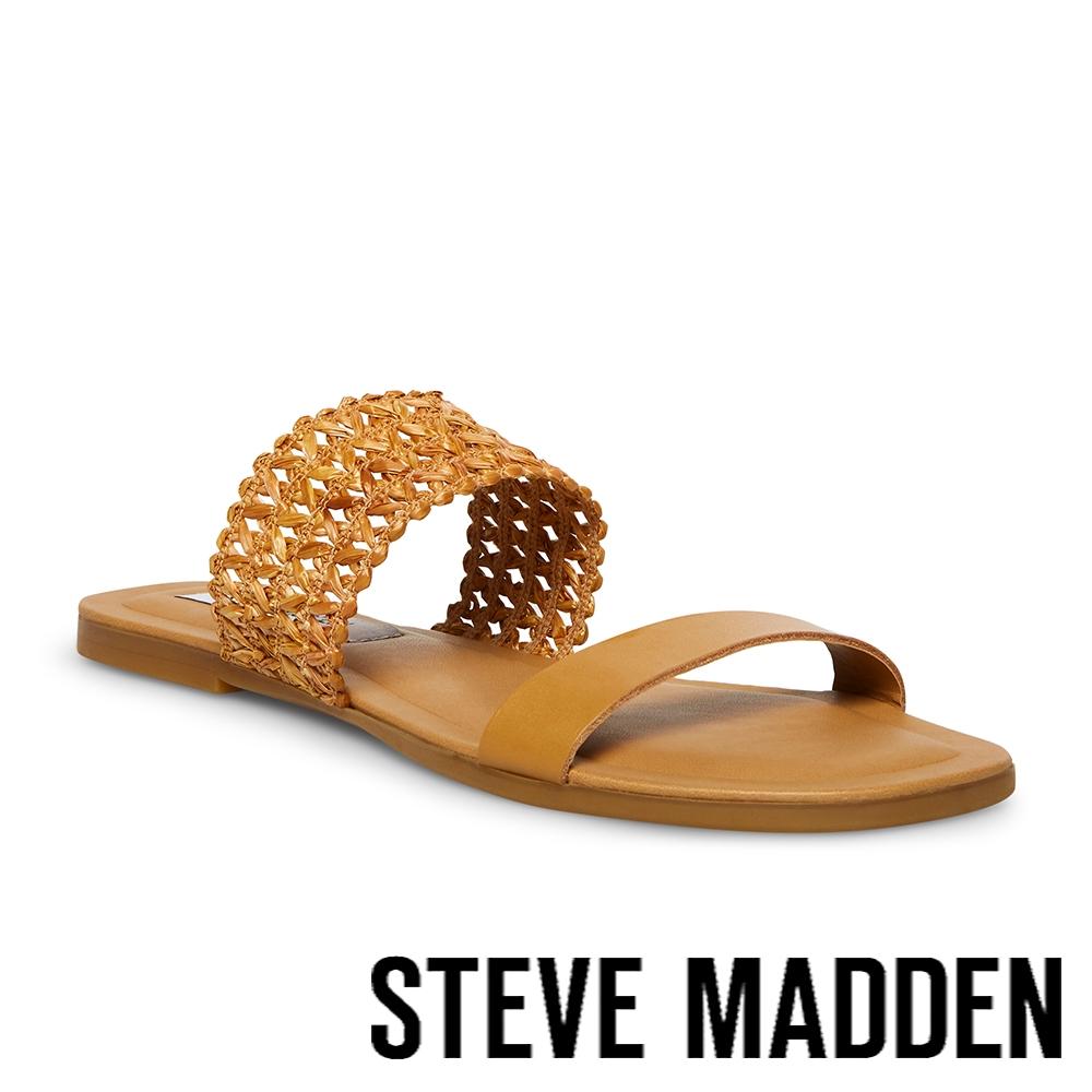 STEVE MADDEN-LIZANNE 簍空雙帶涼拖鞋-棕色