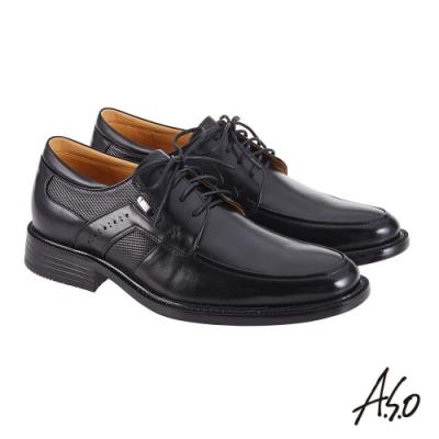 A.S.O 機能休閒 萬步健康鞋 異材質搭配商務休閒鞋-黑