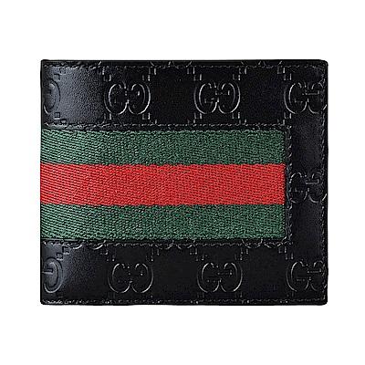 GUCCI Signature經典雙G壓印LOGO綠紅綠織帶牛皮8卡對折短夾(黑)