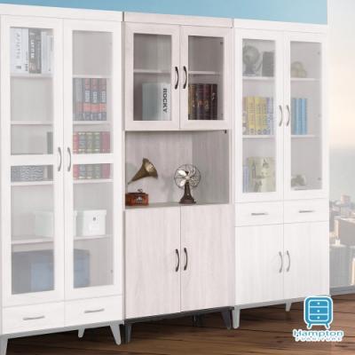 漢妮Hampton柯拉系列鋼刷白2.6尺四門開放書櫥80.8x39.8x192.5