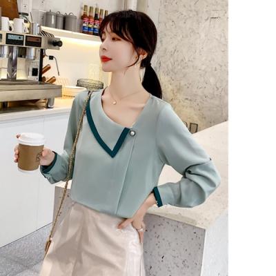 2F韓衣-韓系單邊領配色造型上衣-2色L