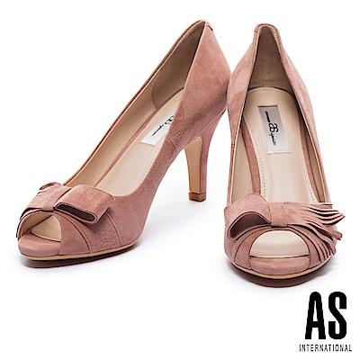高跟鞋 AS 獨特流蘇蝴蝶結造型羊麂皮魚口高跟鞋-粉